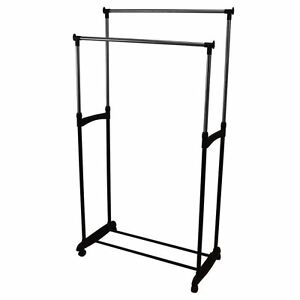 Charmant Image Is Loading Double Garment Rack Clothes  Adjustable Portable Hanging Rail