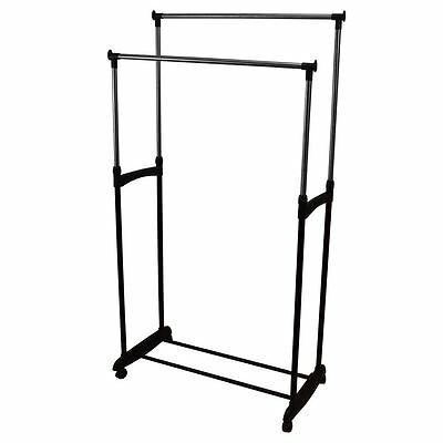 Double Garment Rack Clothes Adjustable Portable Hanging Rail By Home Discount
