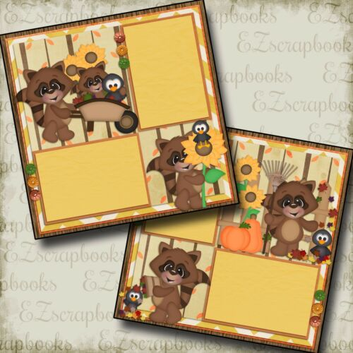 2 Premade Scrapbook Pages FALL DAY RACCOONS EZ Layout 429