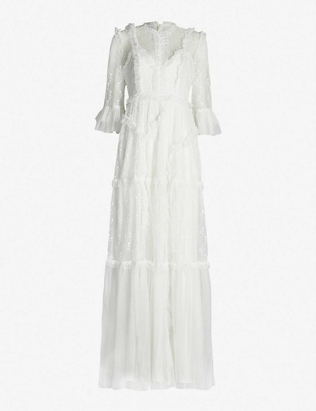 Nål och tråd Deacon blommiga klänning med tårtor UK12  US10 LÖST