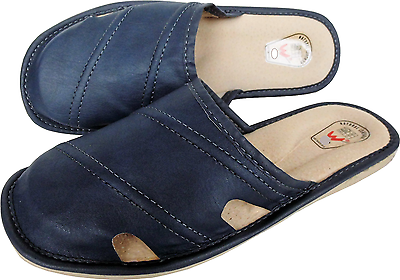Amichevole Pantofole Clogs Comoda G.42 - Vera Pelle Blu (20-11-2-60)-mostra Il Titolo Originale Sconti Prezzo
