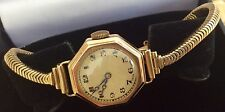 Beautiful Ladies Heavy Antique Solid 9ct Gold Watch With 9ct Solid Snake Strap