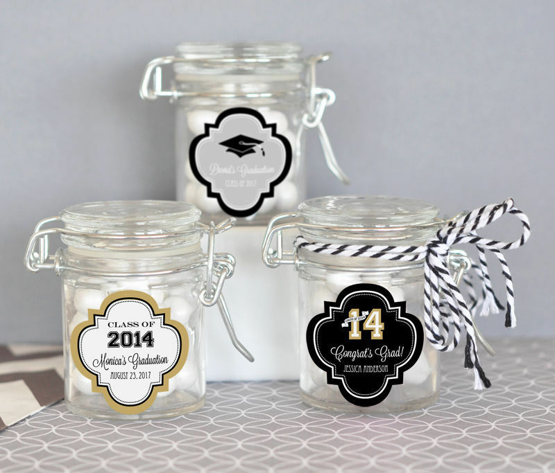 25 Personalized Graduation Party Mini Glass Jar Swing Top Lid Candy Favor