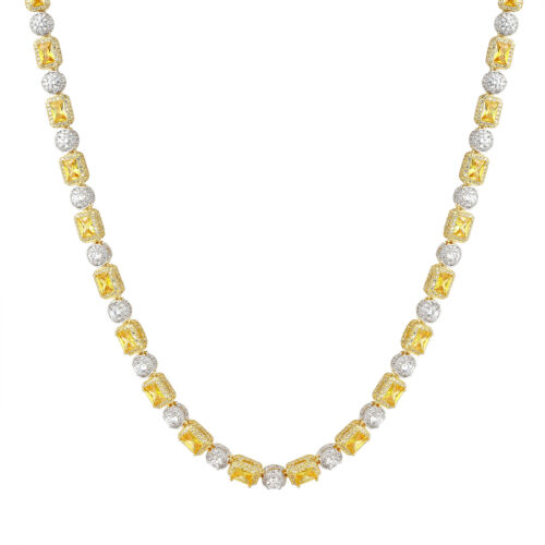 """24/"""" Canary Solitaire Designer Necklace Sterling Silver Simulated Diamond 18/"""""""