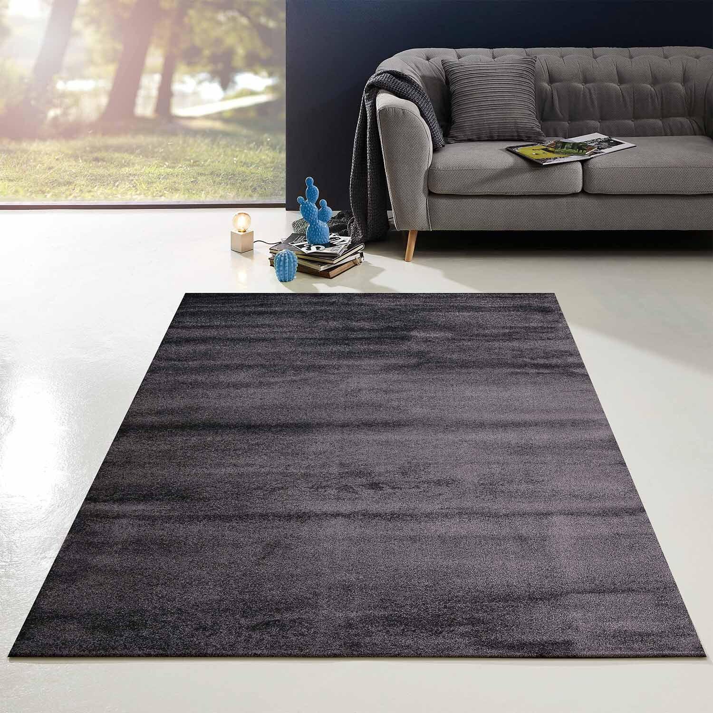 Teppich Flachflor Modern Einfarbig Uni Anthrazit Wohnzimmer