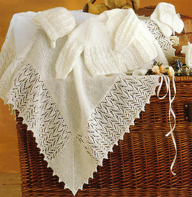 "Lovely 3 ply baby layette with Shawl- Knitting pattern- fits 14-18"" chest"