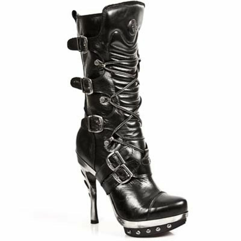 Grandes zapatos con descuento NEWROCK NEW ROCK PUNK PUNK001-C1 PLAT STEEL BLACK PUNK COBRA CLAWS LEATHER BOOTS