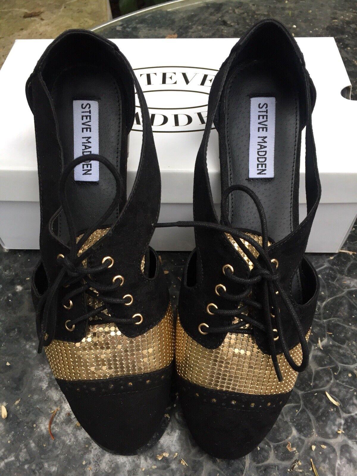 STEVE MADDEN Cori Oxford Loafers 39 Gold Pailetten Wildleder Miu Blogger Turnschuhe