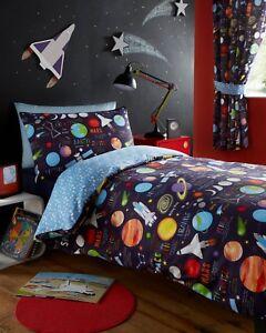 Planetes-espace-vaisseau-fusee-enfant-garcon-reversible-couette-couverture-ensemble-de-literie