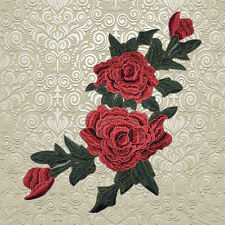 40*21cm Rote Blumen Rosen Aufbügler Bügelbilder Patches Patch Bügelflicken Flick