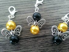 Bee Charms  3. Bee Charms Lobster Clasp Pearl Beads