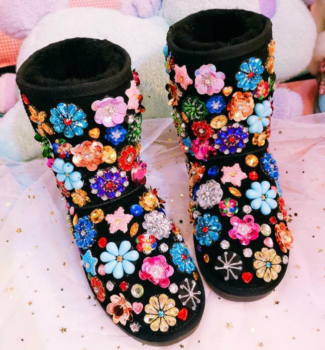 femmes Rhinestones Sequins Flowers Winter Warm Ankle bottes Pull On Lace Up chaussures