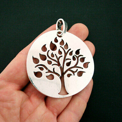 Tree of Life Pendant Charm Antique Silver Tone  With Attached Loop SC6704