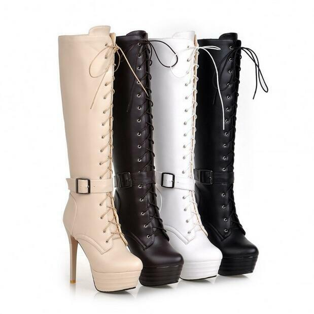 Womens Knee Boots Synthetic Leather Platform High Heels shoes Zip Lace Up Size