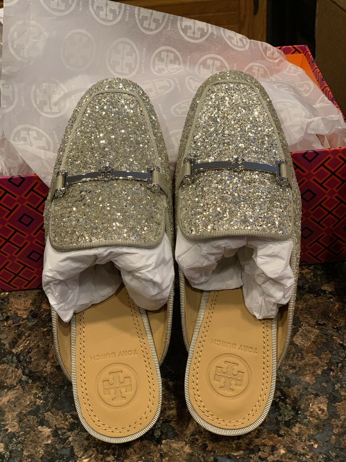 Tory Burch Amelia Backless Loafer Glitter Silver Size 5 NEW