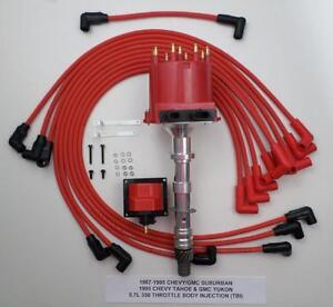 Details about 87-95 CHEVY GMC SUBURBAN 5 7L 350 TBI DISTRIBUTOR + COIL +  RED SPARK PLUG WIRES