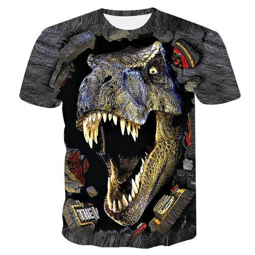 Hipster Retro 3D Print Animal Dinosaur Women Men Casual T-Shirt Short Sleeve Tee