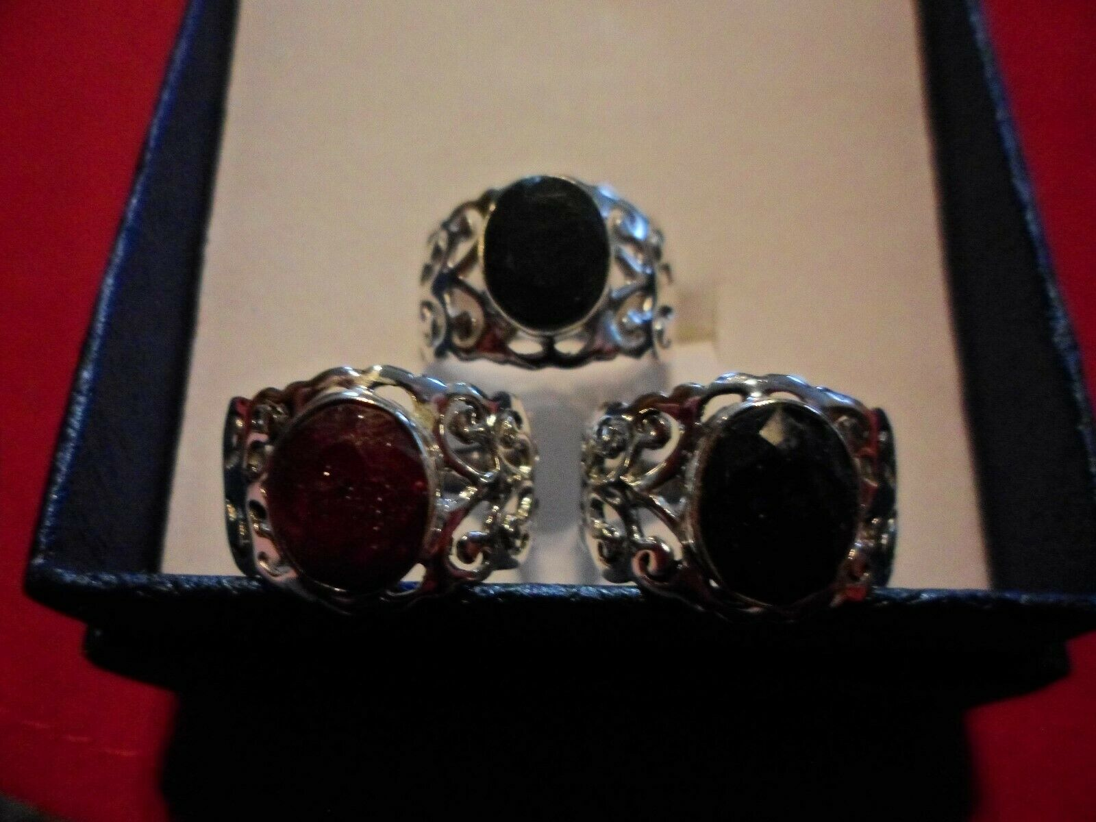 Set of 3 Artisan Sapphire,Ruby & Emerald 925 Sterling Openwork Rings-Sz8-9.24CTW