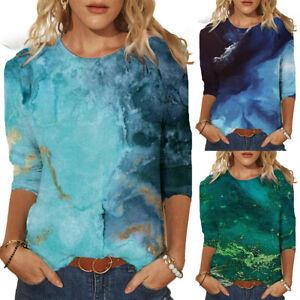 Womens Ladies Casual Loose T-Shirt Blouse Tee Summer 3/4 Sleeve Tops Tee Shirt