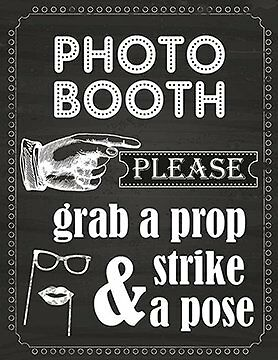 Photo Booth Prop Sign Printed On 65 Lb Card Stock White New