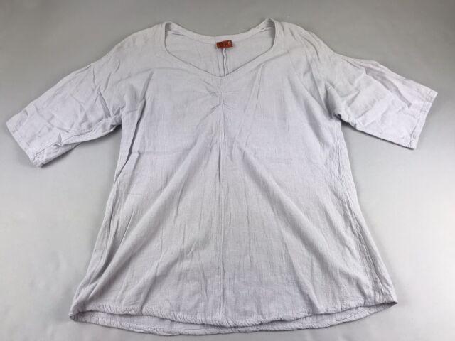 Oh My Gauze Gray Half Open Sleeve Size 1 S M Small Medium Top Shirt Tunic V Neic