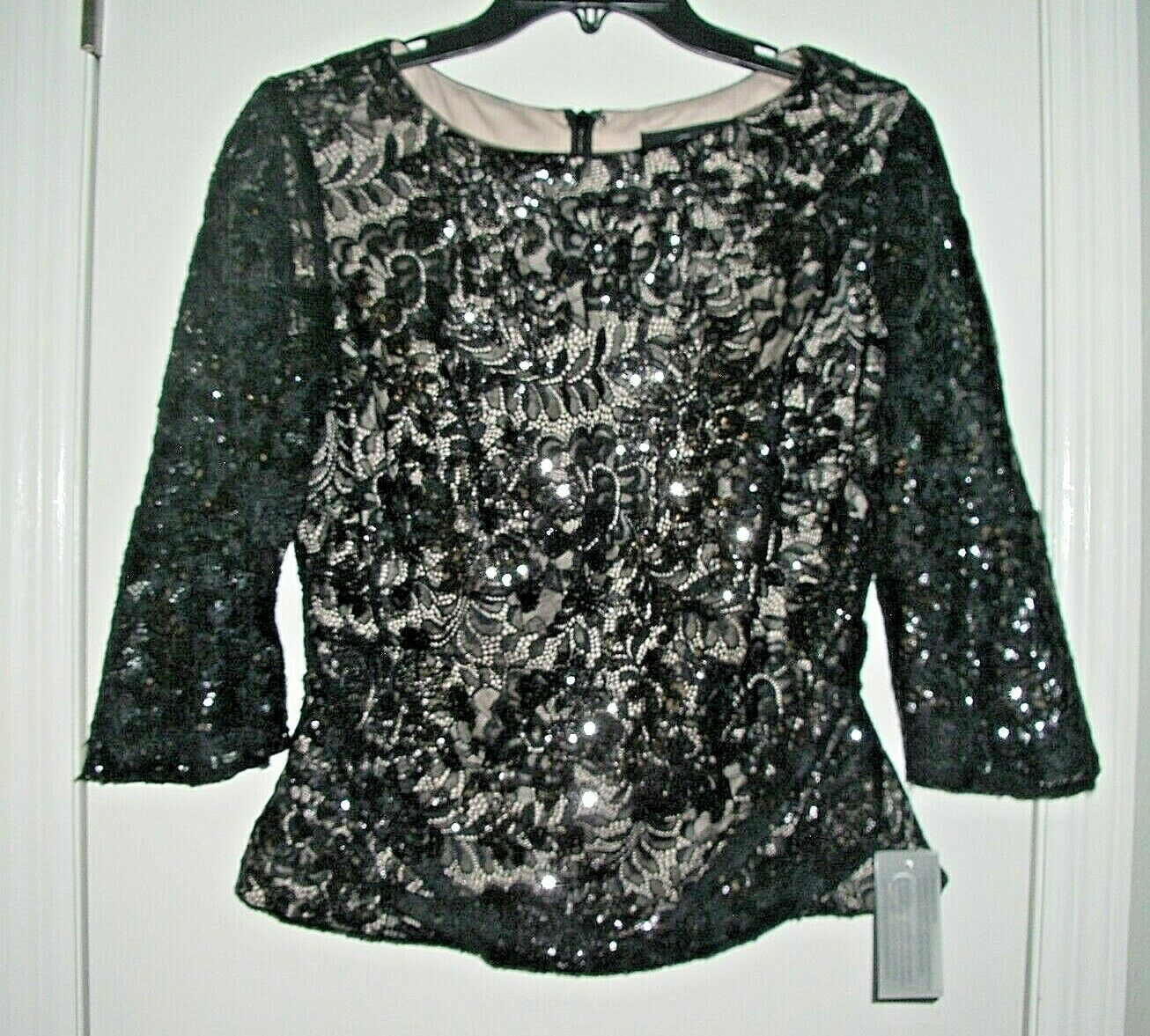 NWT Alex Evenings Lined Black Nude Sequin Small 83122297