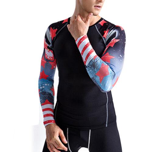 Men/'s Long Sleeve Gym T-Shirt Moisture-Wicking Compression Tight Shirt Baselayer