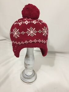 6fbb7525c6c Gymboree Alpine Sweetie Red Fair Isle Pom Pom Sweater Hat 3 4 ...