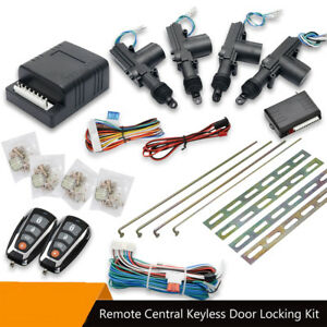 High-Quality-Car-Remote-amp-Full-Set-Central-Locking-Kit-4-Doors-Actuator-amp-2-Fobs