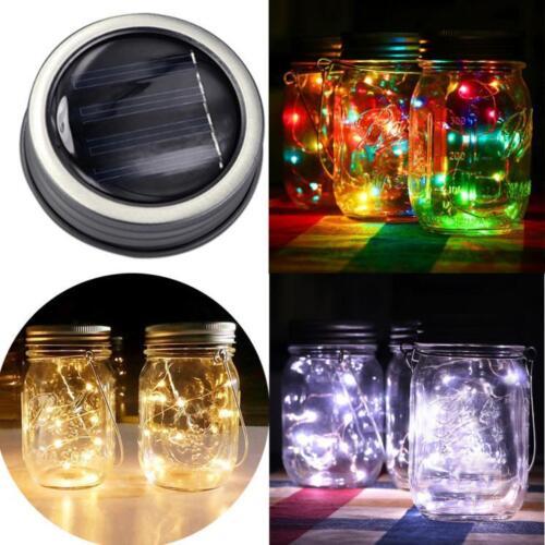 LED Fairy Light Solar For Mason Jar Lid Insert Color Changing Garden Decor LIU9