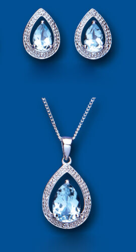 Blue Topaz and Diamond Pendant and Earrings Pear Set Solid Sterling Silver