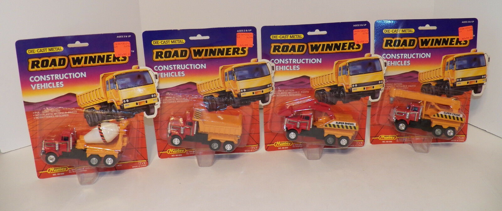 COMPLETE SET of 1989 Manley Toys ROAD WINNERS Construction Vehicles  RARE  New