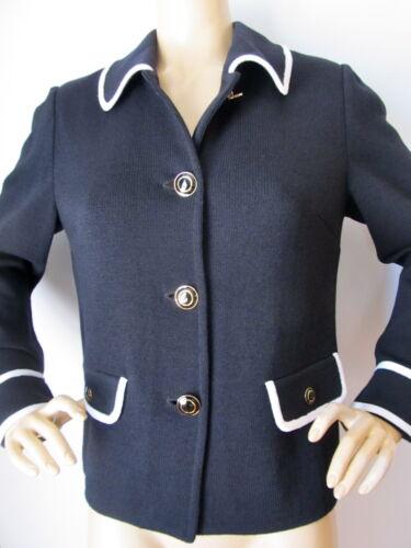 jasje Knit BlackBr Nieuwe White knoppen 6 damessuit logo Sz St John EIH2D9