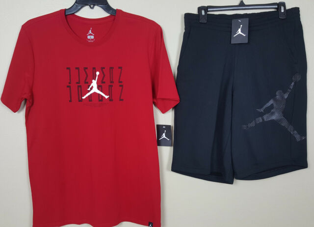 16887f07e5aa NIKE JORDAN XI RETRO 11 OUTFIT SHIRT + SHORTS RED BLACK BRED RARE (SIZE  LARGE