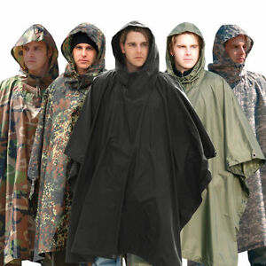 Mil-tec-ripstop-Poncho-Impermeable-a-Capuche-Armee-Festival-Camping-Militaire