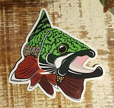 """BROOK TROUT Sticker Decal fly fishing Kype char 4"""" x 4 1/2"""" glossy weather proof"""