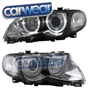 BMW E46 4DR 02-05 CHROME ANGEL EYE'S HEAD LIGHTS T10LED RING/ H7 HID LOW BEAM