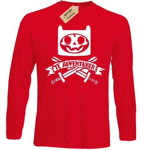 Ye Aventurier T-shirt homme à manches longues PIRATE temps Squelette aventure Crâne