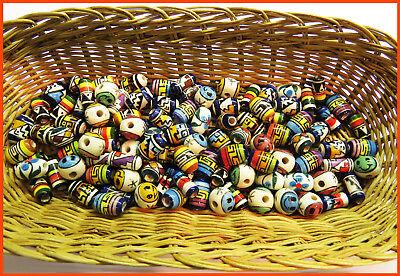 Porzellan Inka Keramikperlen mix Oval Zylinder bunt Bastelschmuck Handarbeit NEU