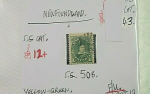 NEWFOUNDLAND-YELLOW-GREEN-QUEEN-VIC-1C-STAMP-G-U