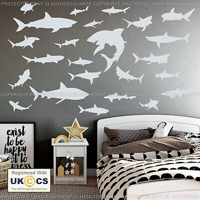 Shark Wall Stickers Decals X24 Assorted Fish Vinyl Baby Kids Bedroom Sea Life Ebay
