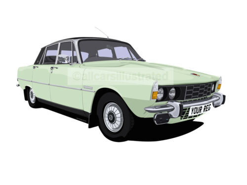 ROVER P6 CAR ART PRINT PICTURE (SIZE A4). PERSONALISE IT!