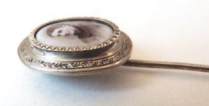 Épingle à Foulard Reliquaire En Argent Massif Photo Porcelaine Silver Pin Bijou Emballage De Marque NomméE
