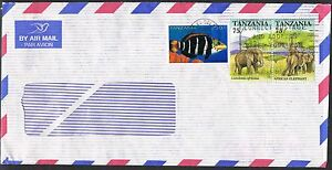 Tanzania-1990s-Cover-to-UK-African-Elephants-Fish