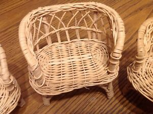 3 piece doll house vintage wicker rattan patio furniture Barbie