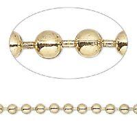 1321ch Bulk Goldtone Gold Plated Steel Ball Chain 3.2mm 50 Feet Spool