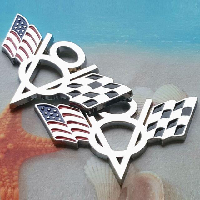 2Pcs V8 Flag Emblem Badge Sticker Metal Chrome Chevrolet Chevy Corvette Camaro