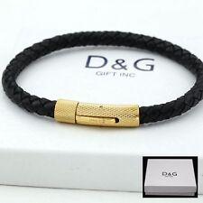DG Mens 8 Stainless-Steel Gold,Black Braided.Leather Bracelet Unisex + BOX