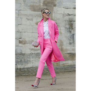 Pink Womens Business Suits Blazer With Pants Long Jacket Slim Fit