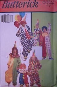6302-Vintage-Butterick-SEWING-Pattern-Child-Adult-Clown-Halloween-Costume-UNCUT
